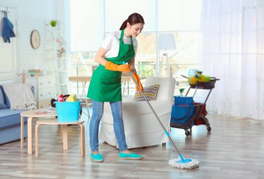 Young female cleaner