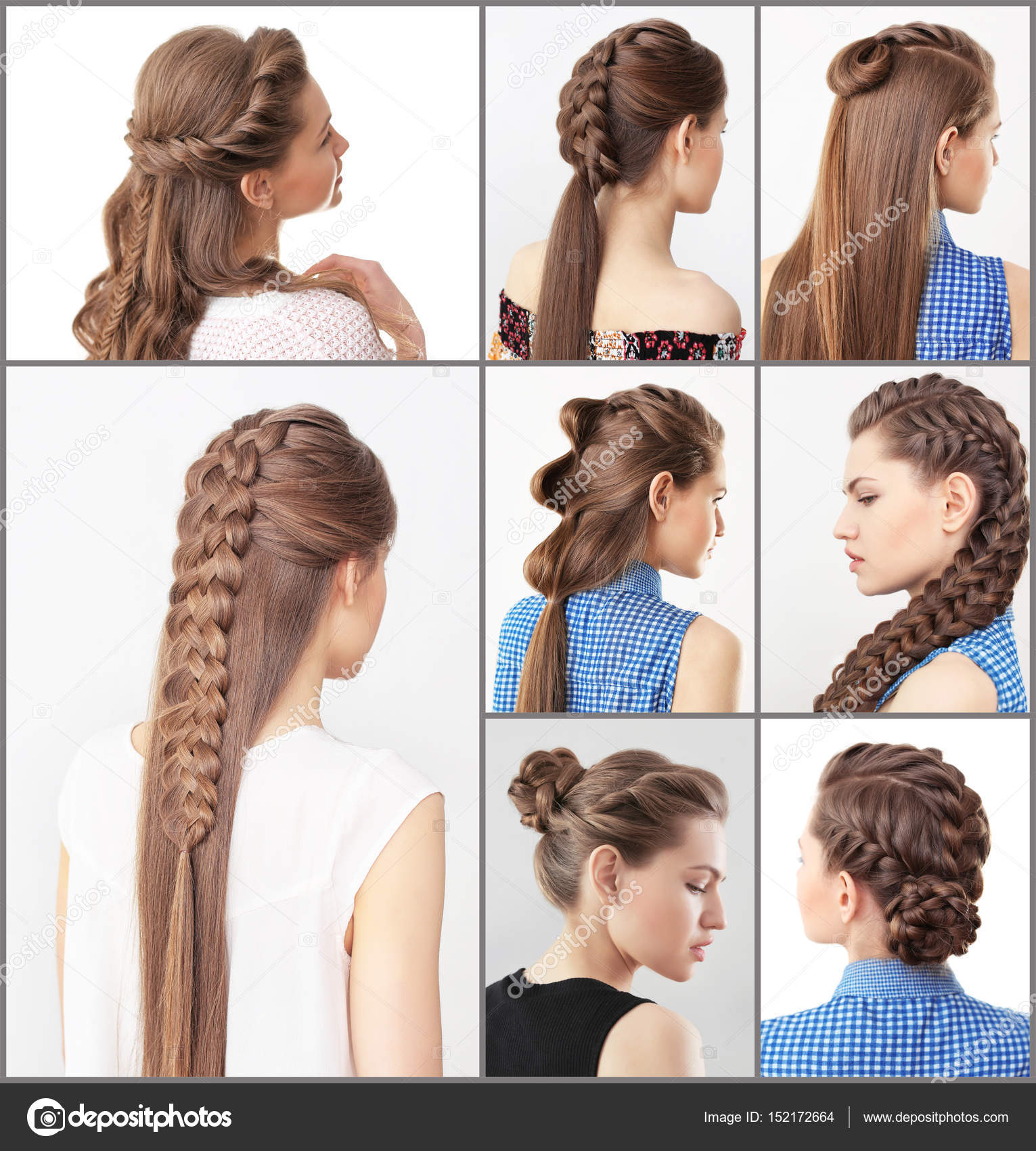 Woman Different Hairstyles Stock Photo Belchonock 152172664
