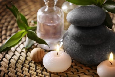 Spa stones with candles
