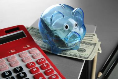 Composition of piggy bank with dollars