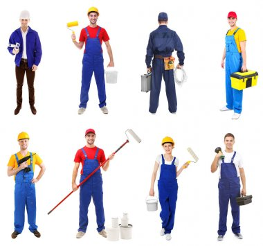 Workers of different professions on white background