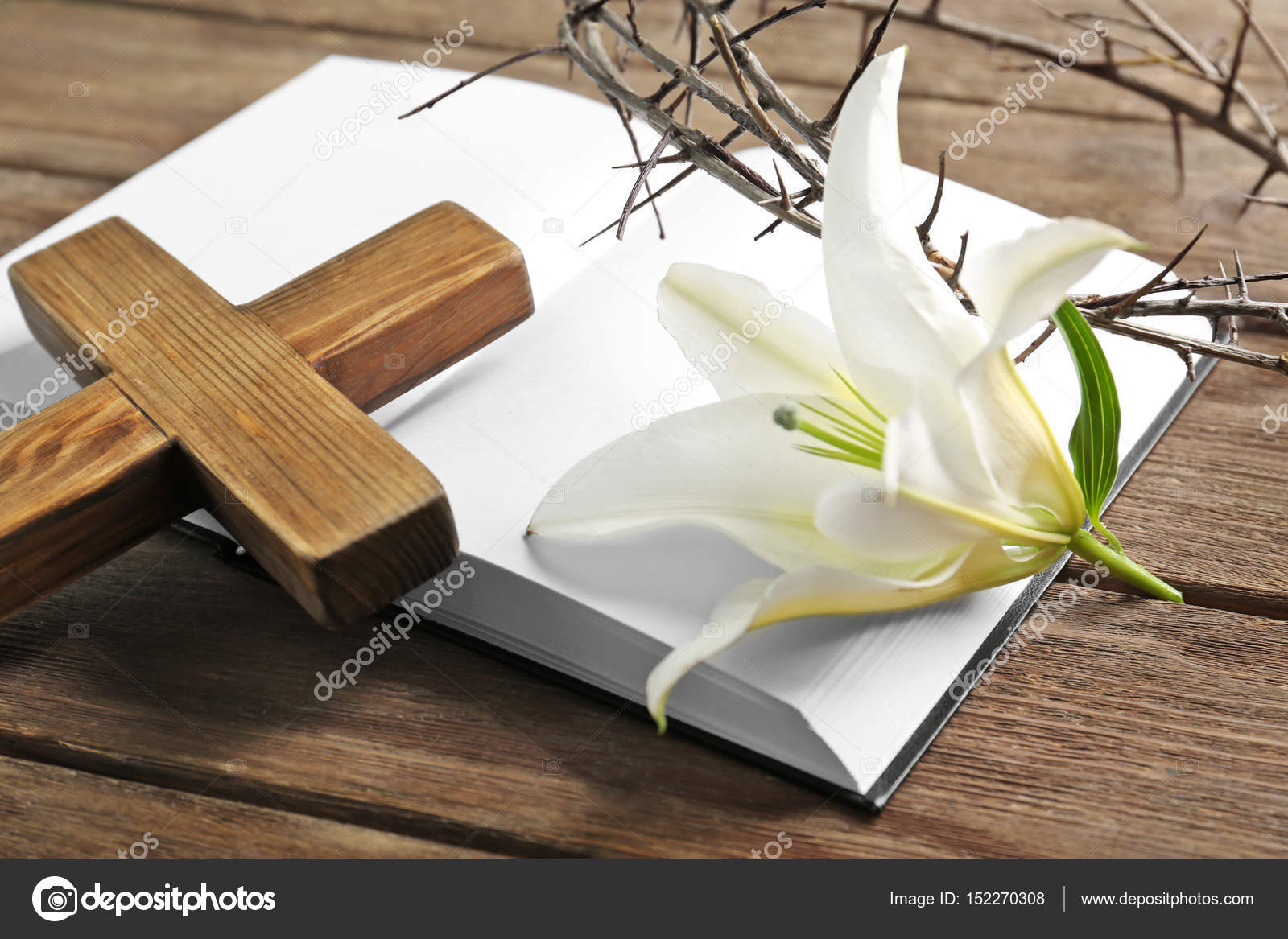 Crown Of Thorns Holy Bible Wooden Cross And White Lily On Table