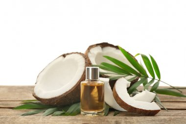 Bottle with fresh coconut oil