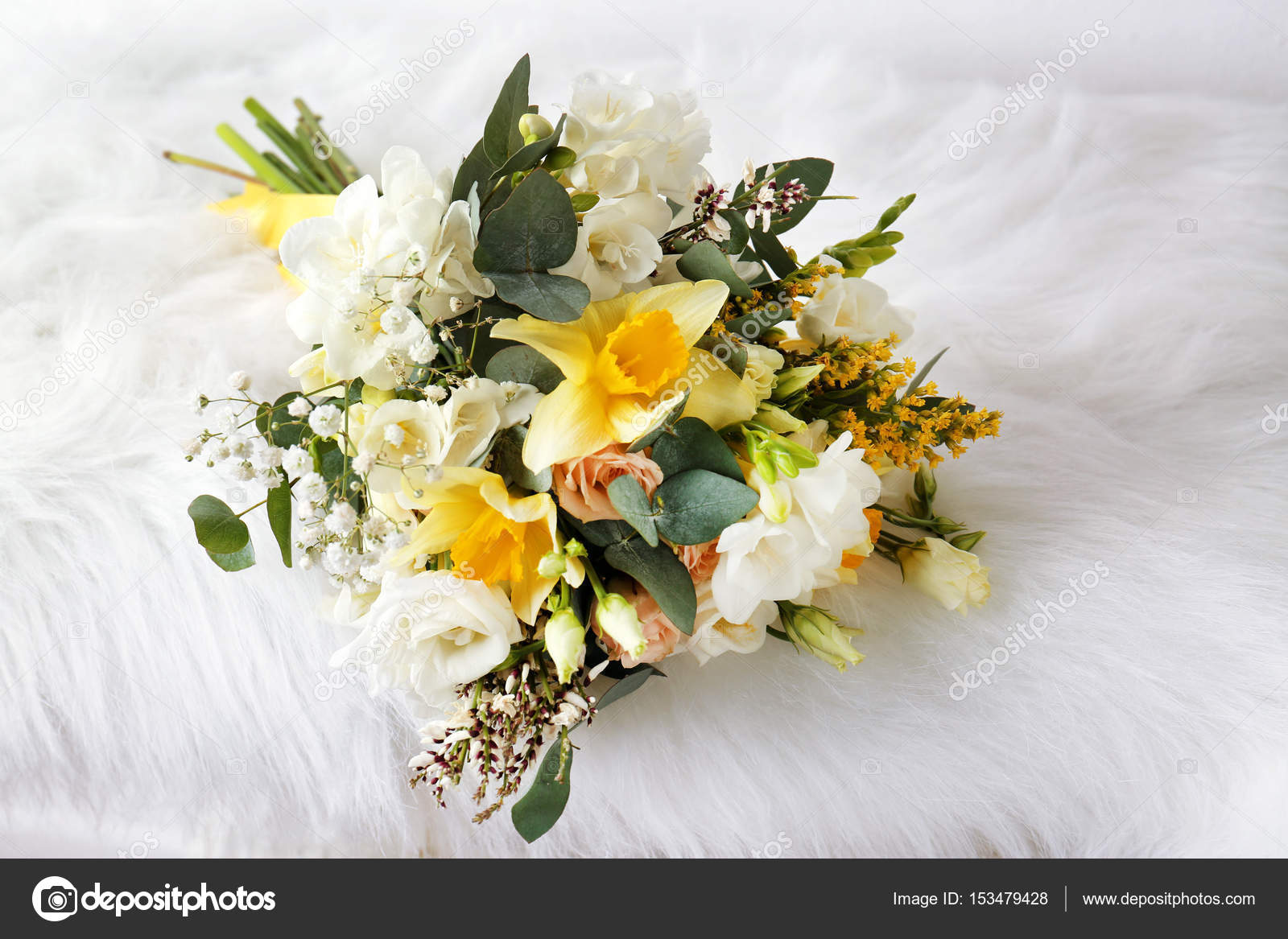 Beautiful bouquet with freesia flowers stock photo belchonock beautiful bouquet with freesia flowers on furry cloth photo by belchonock izmirmasajfo