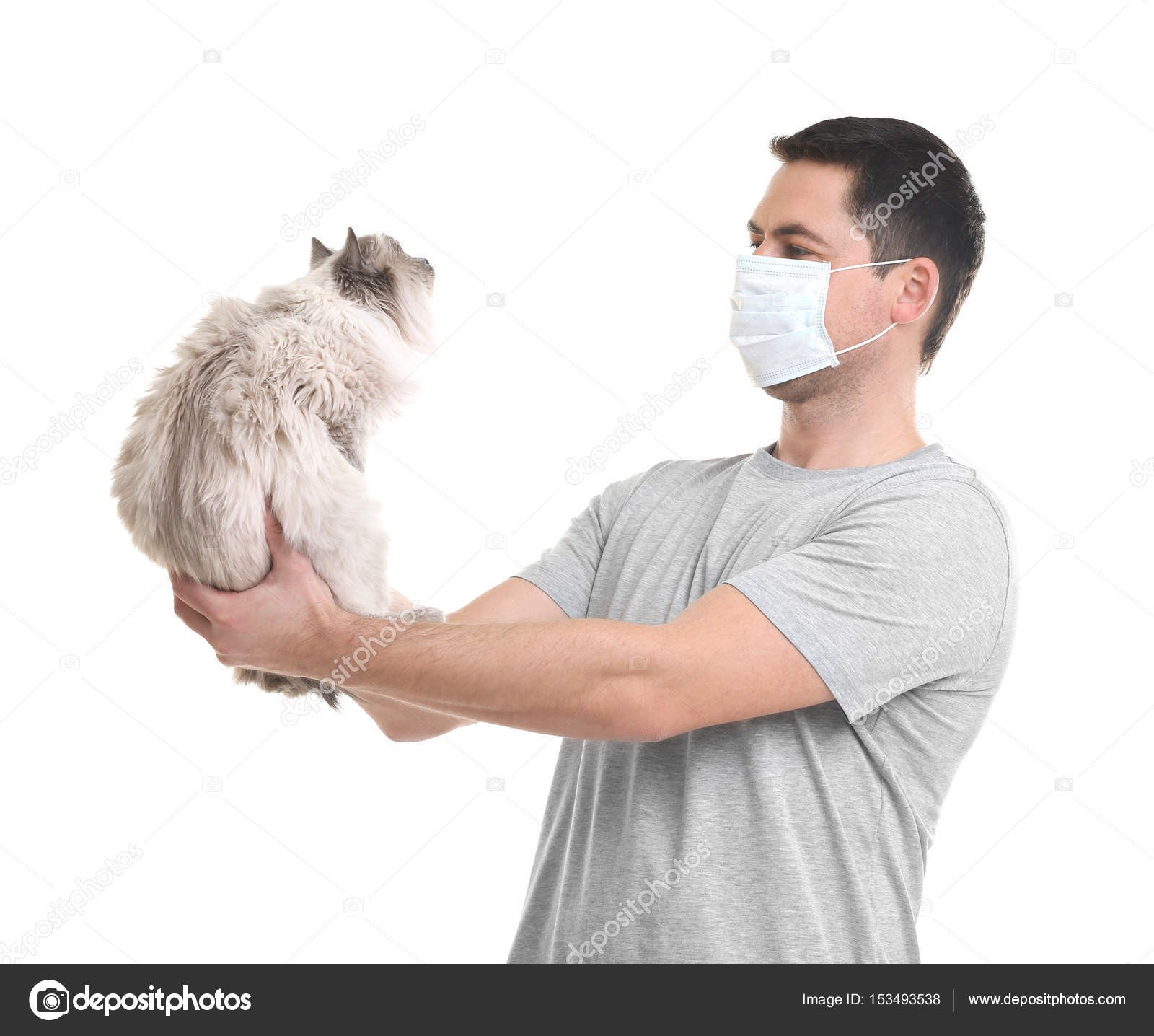 Concetto Di Allergia Animale Uomo Bello Con Il Gatto Su Priorità