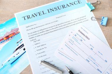 Blank travel insurance form