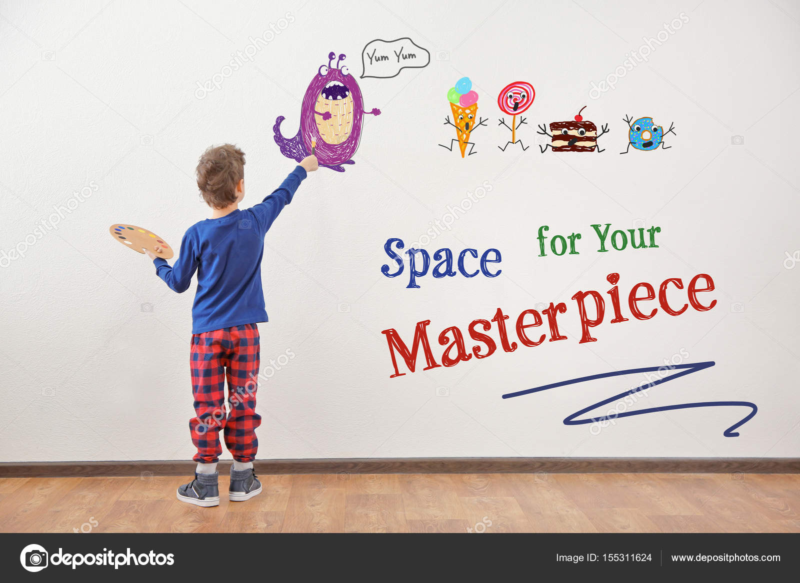 Art Concept Cute Little Boy Drawing On White Wall With Space For