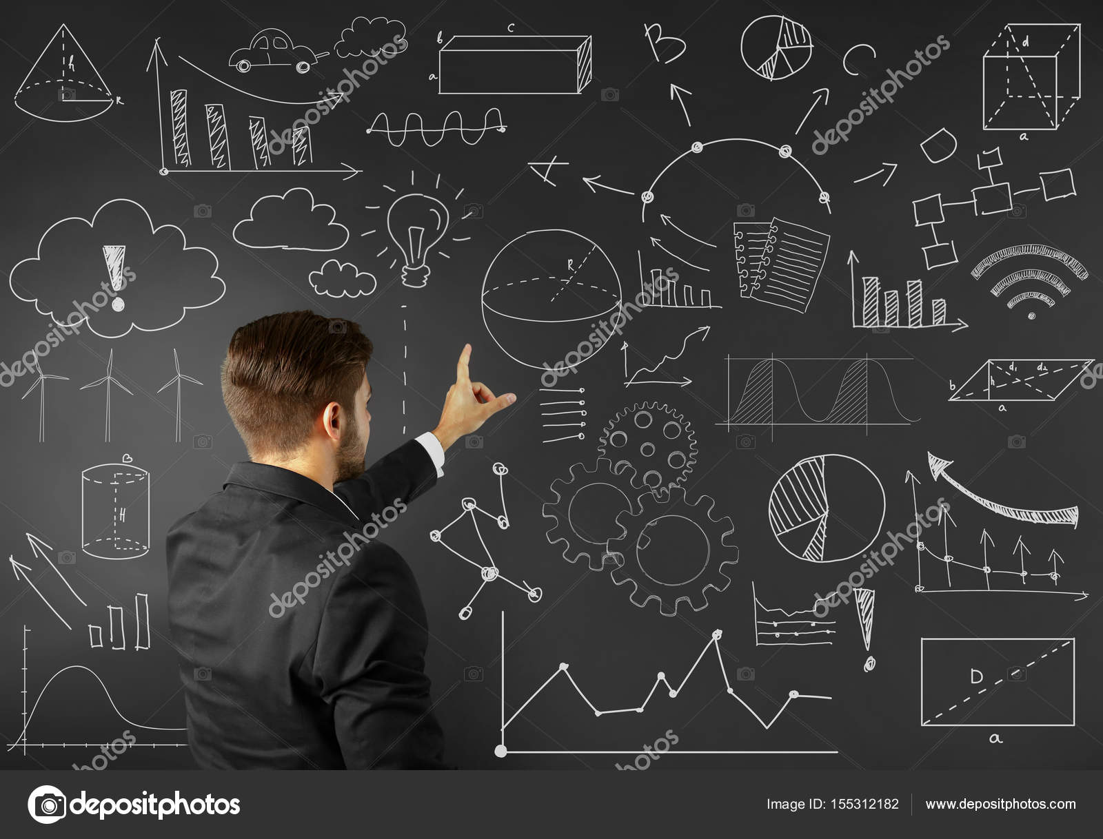 marketing concept man presenting business plan on black background