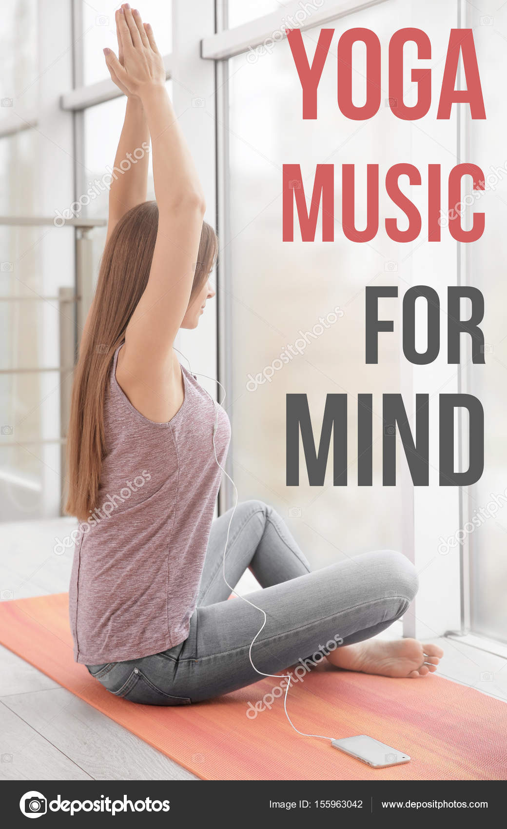 woman listening to music during yoga practice — Stock Photo