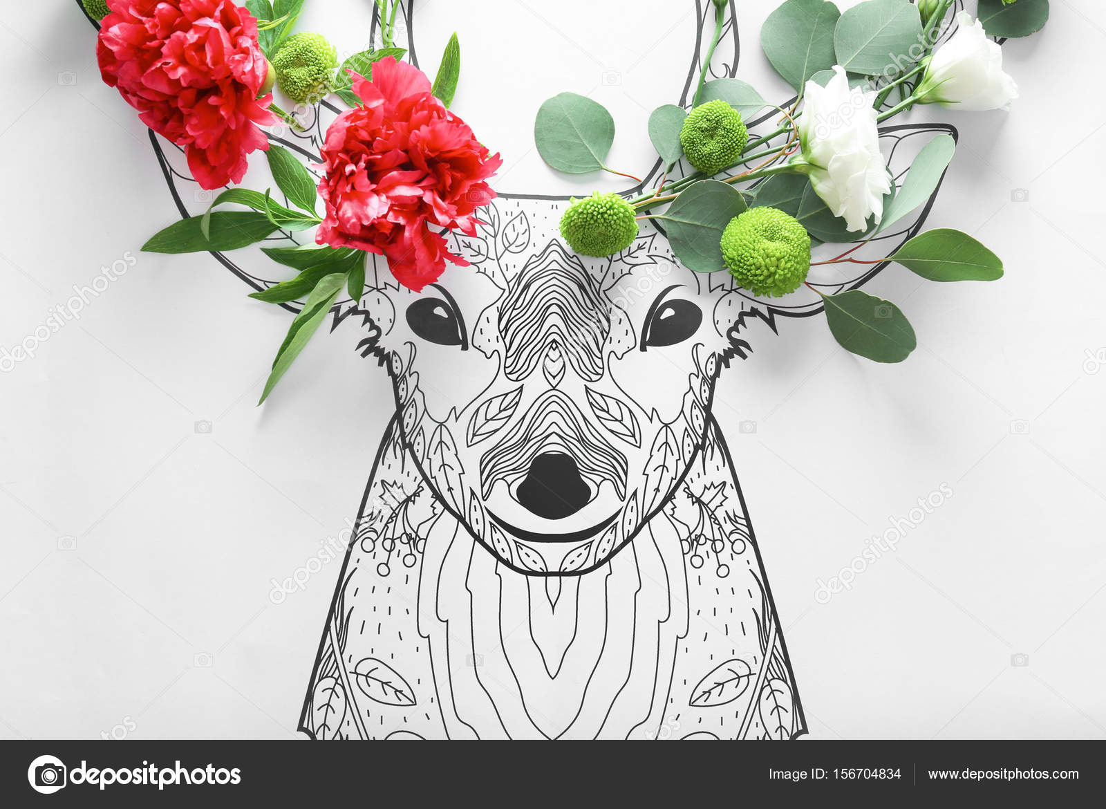 Composition of different beautiful flowers stock photo composition of different beautiful flowers and drawn deer on paper creativity concept photo by belchonock izmirmasajfo