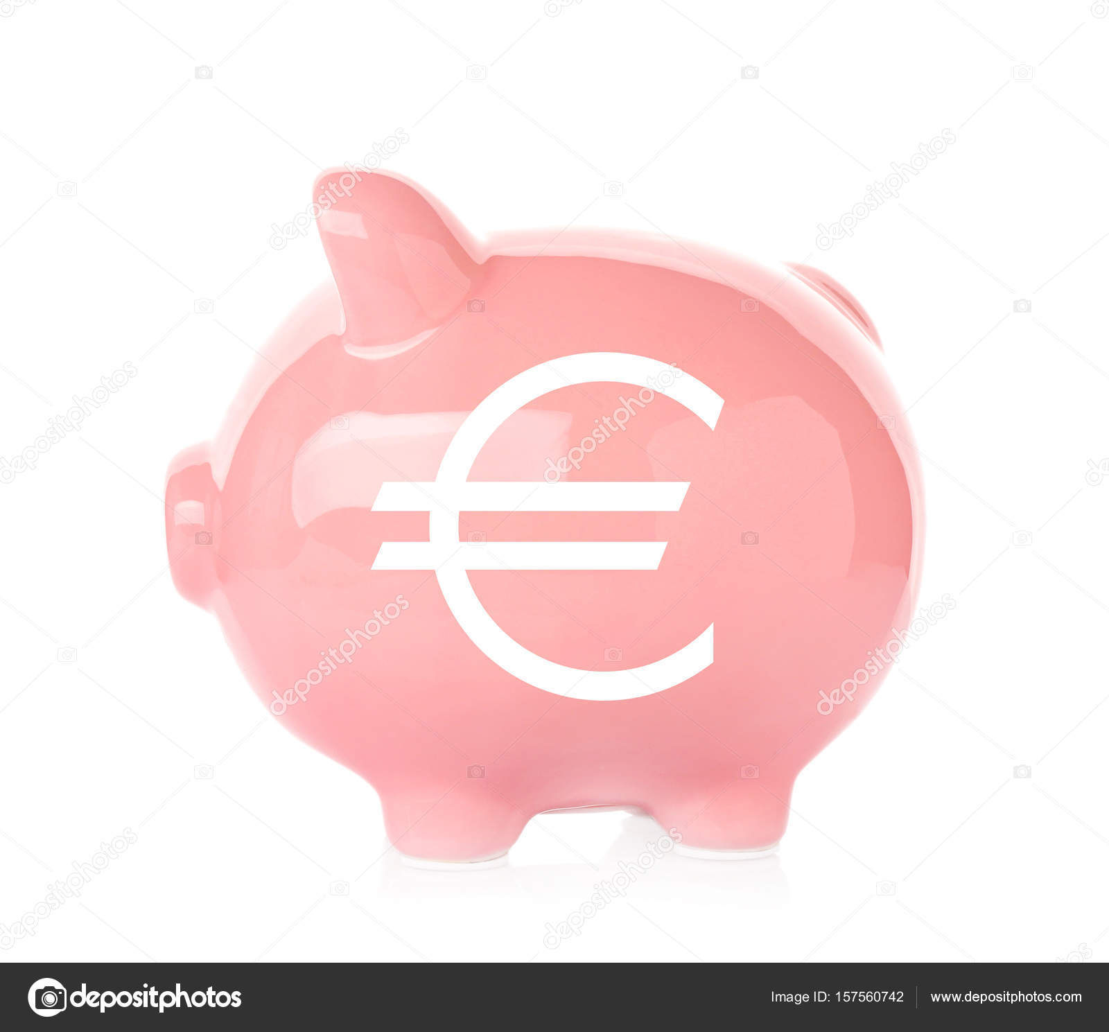 Piggy bank with symbol of euro currency on white background piggy bank with symbol of euro currency on white background financial savings concept stock biocorpaavc Images