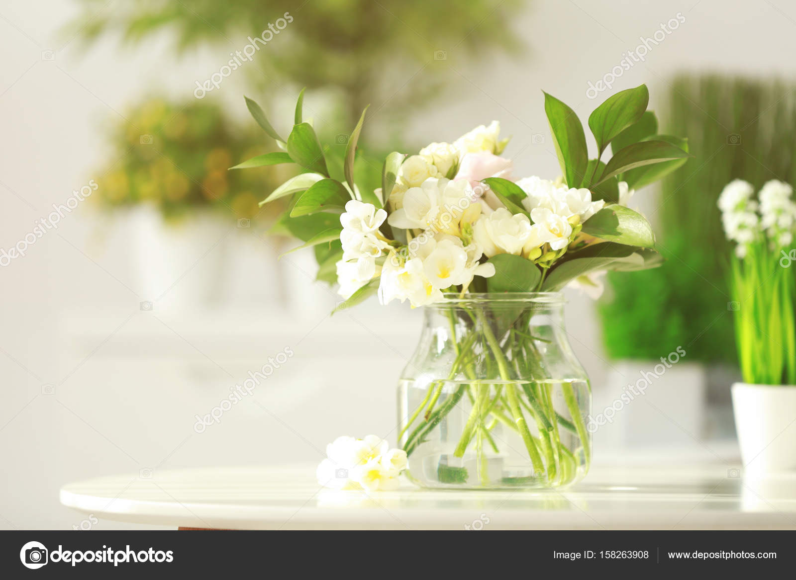 Beautiful Bouquet With White Freesia Flowers Stock Photo
