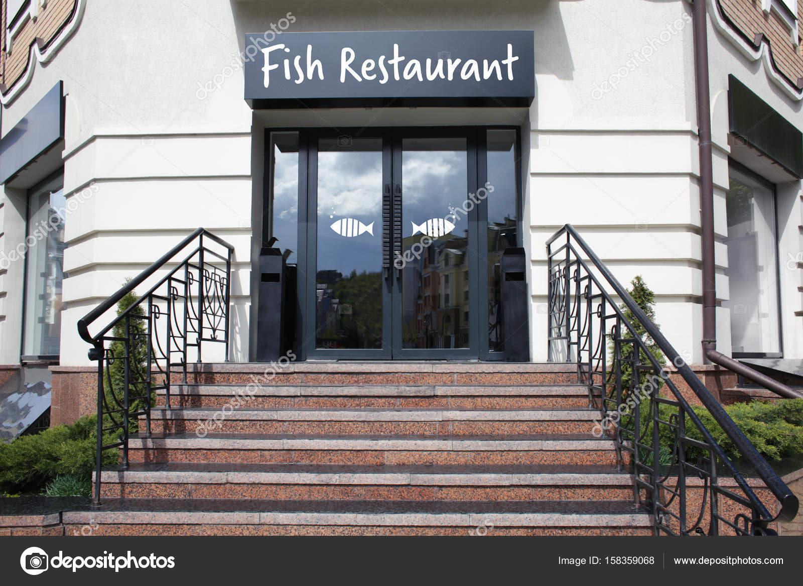 Modern design of fish restaurant exterior — Stock Photo © belchonock ...