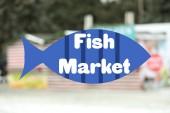 Rozmazaný pohled na rybím trhu venkovní