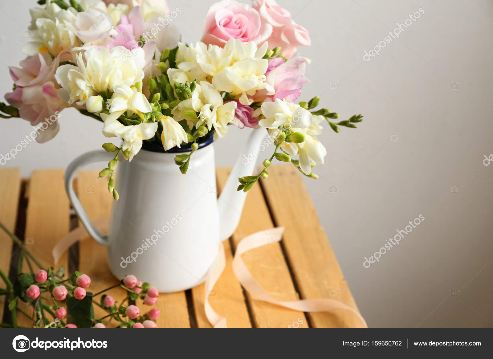 Bouquet with freesia flowers stock photo belchonock 159650762 beautiful bouquet with freesia flowers in jug on wooden table photo by belchonock izmirmasajfo