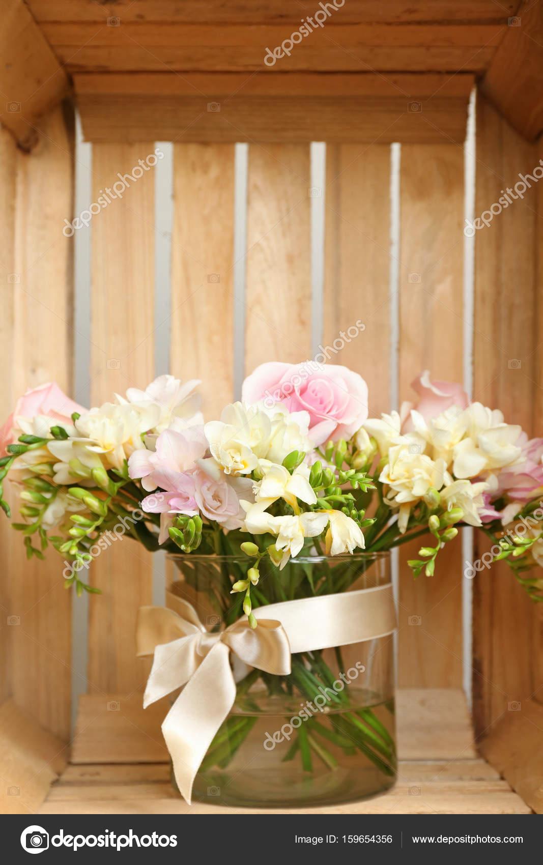 Bouquet with freesia flowers stock photo belchonock 159654356 beautiful bouquet with freesia flowers in wooden box photo by belchonock izmirmasajfo