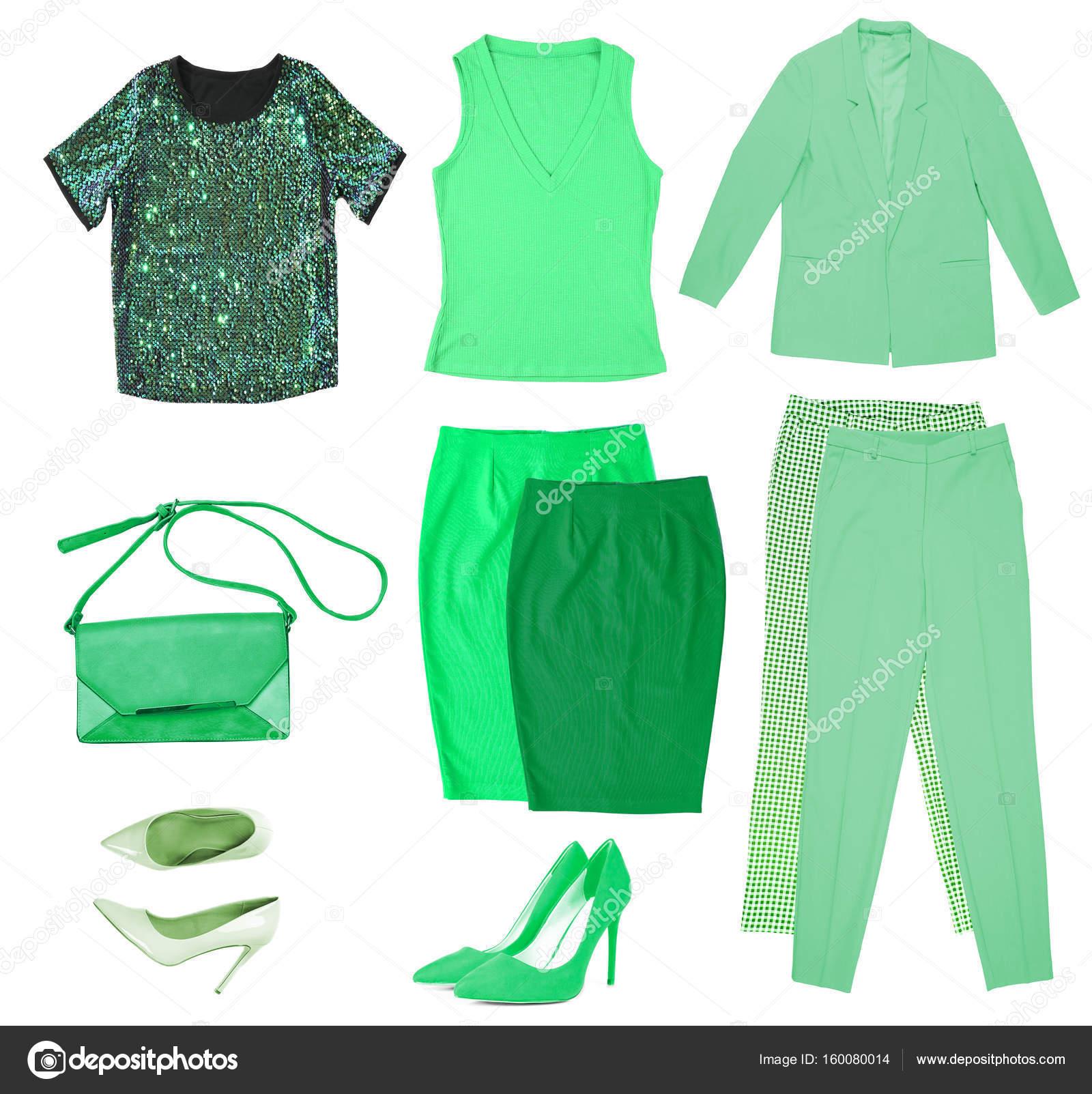 b088b5a11da7 Collage de ropa de color verde y accesorios en fondo blanco - imágenes: ropa  de colores — Foto de belchonock