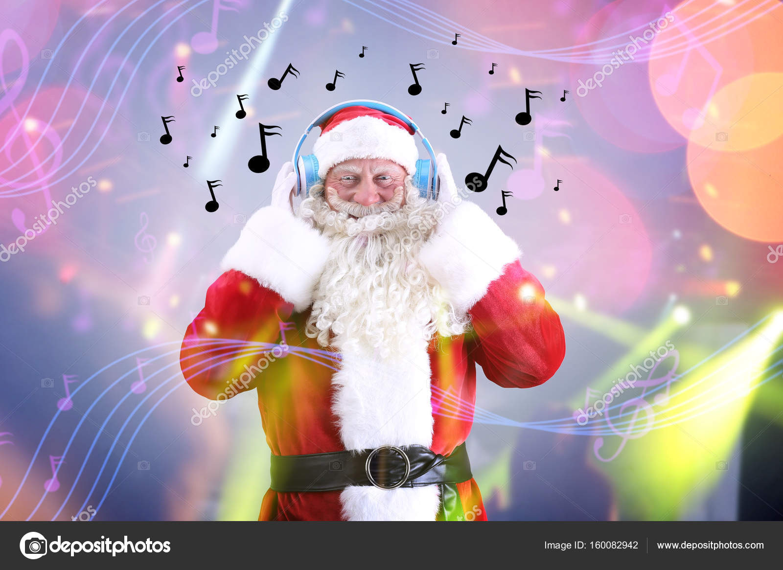 Santa Claus with headphones listening to music on blurred