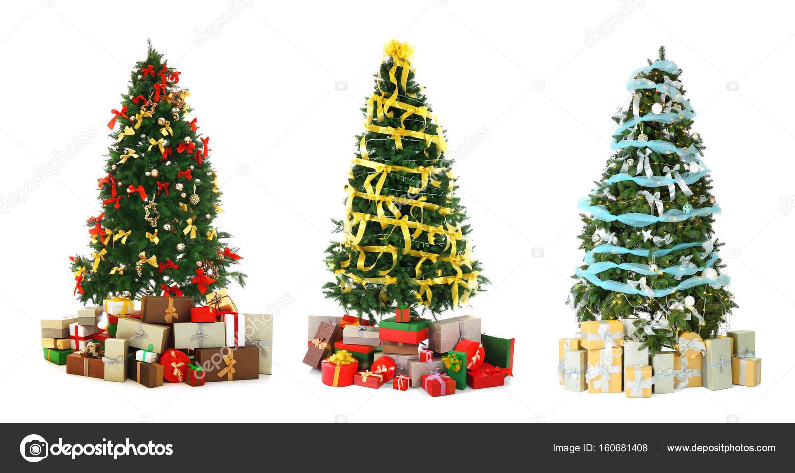 Alberi Di Natale Bellissimi.Collage Di Bellissimi Alberi Di Natale Foto Stock