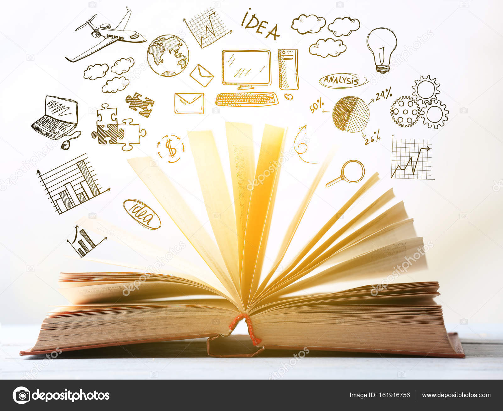 Open book and drawings — Stock Photo © belchonock #161916756