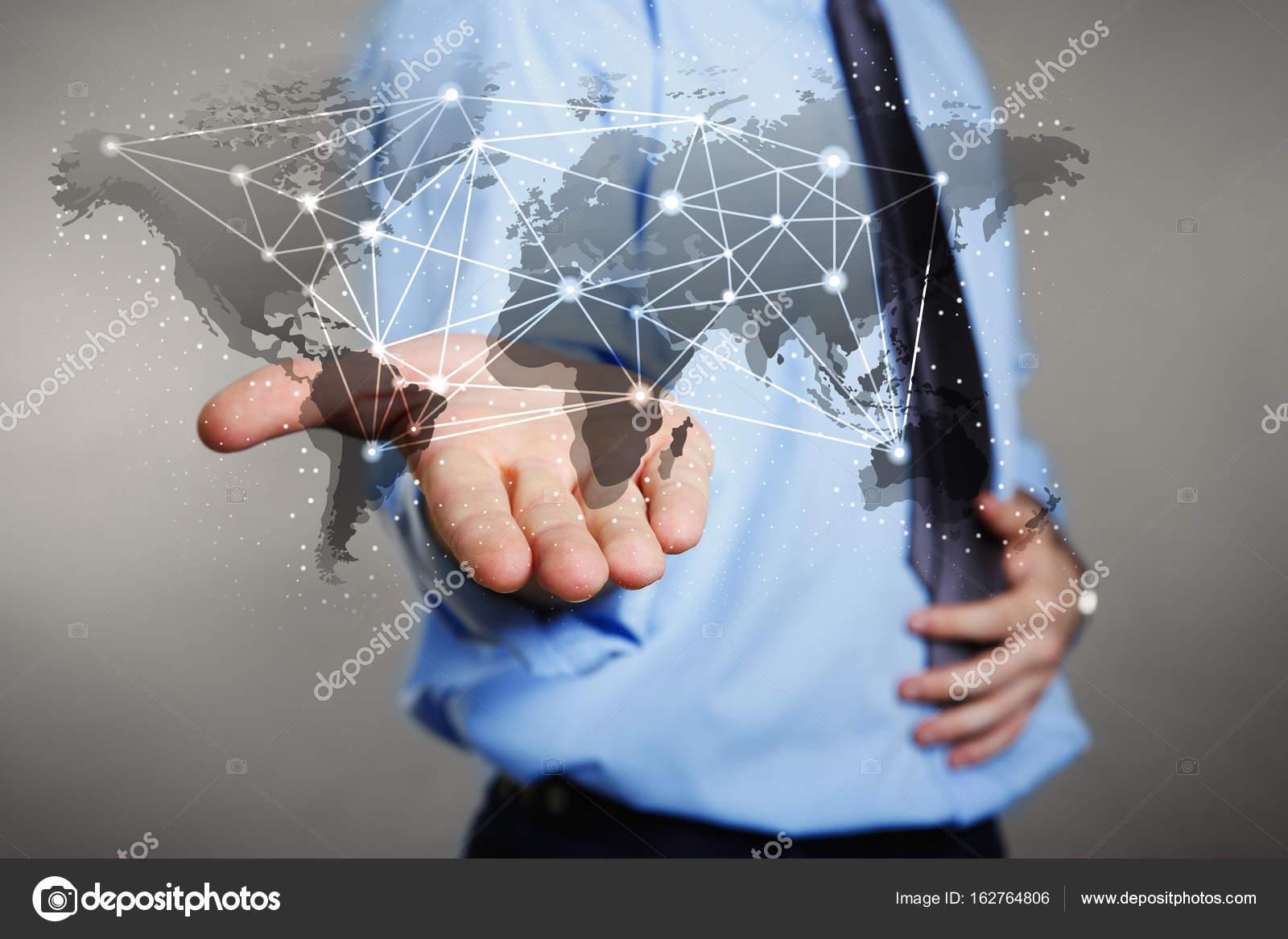 Man holding virtual world map stock photo belchonock 162764806 man holding virtual world map stock photo gumiabroncs Choice Image
