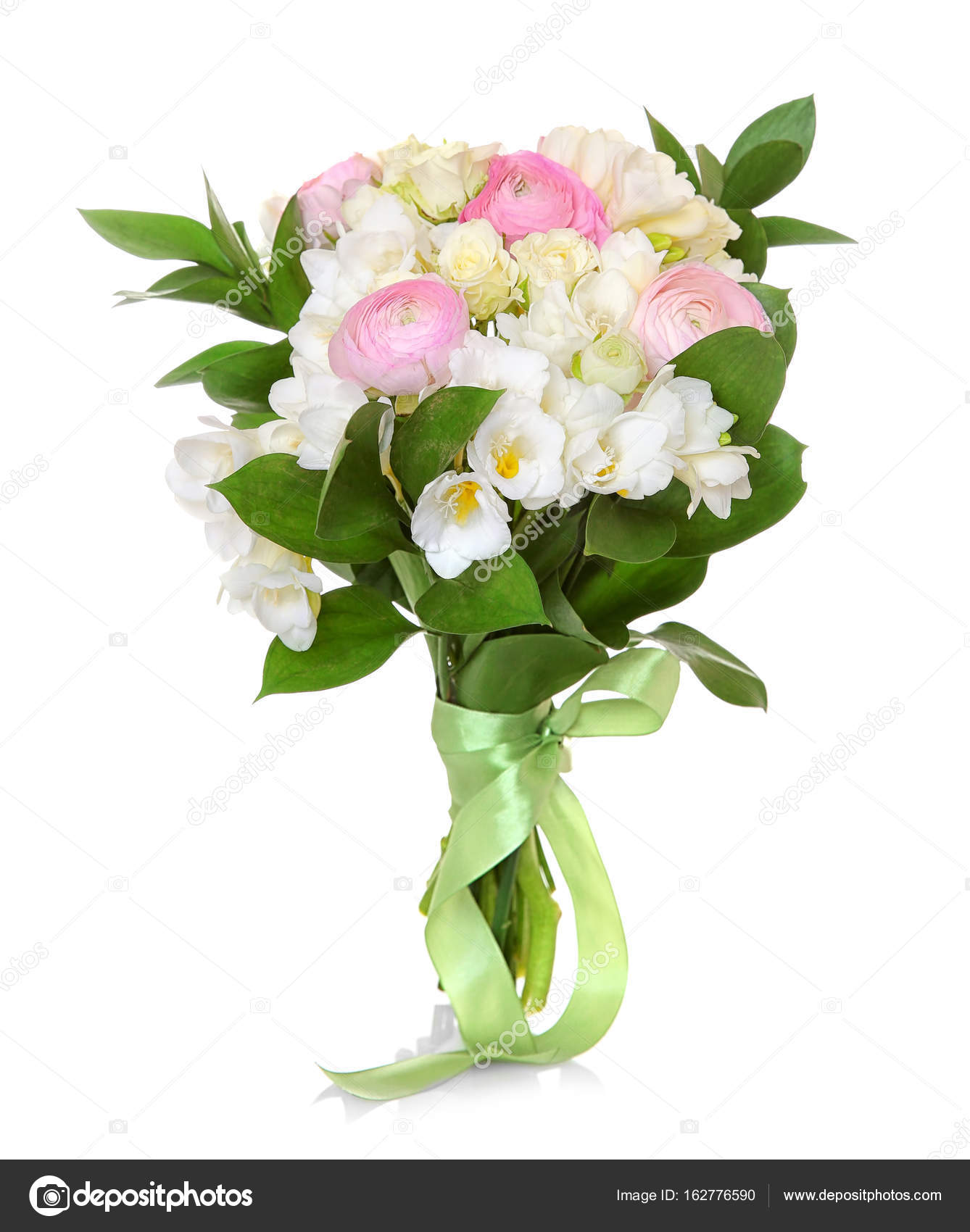 Beautiful bouquet with freesia flowers on white background stock beautiful bouquet with freesia flowers on white background photo by belchonock izmirmasajfo