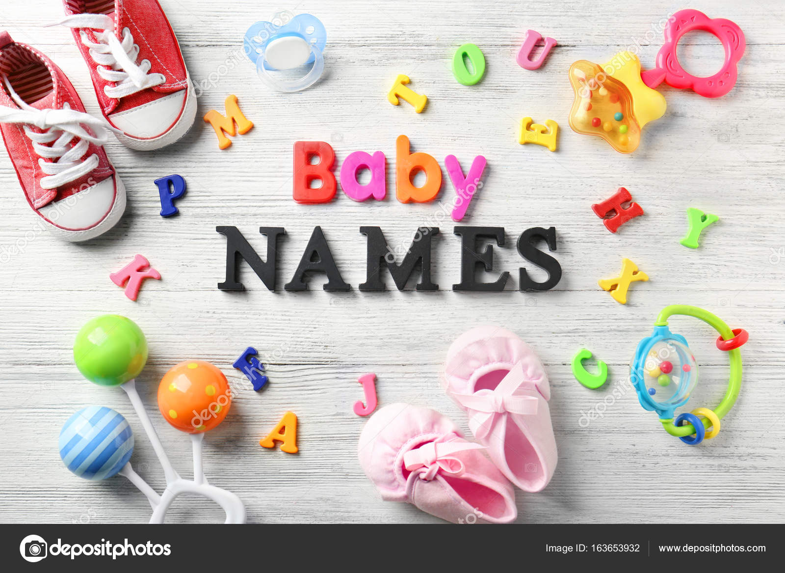 ec0de3b7e8fe Composition with text BABY NAMES on wooden background — Stock Photo ...