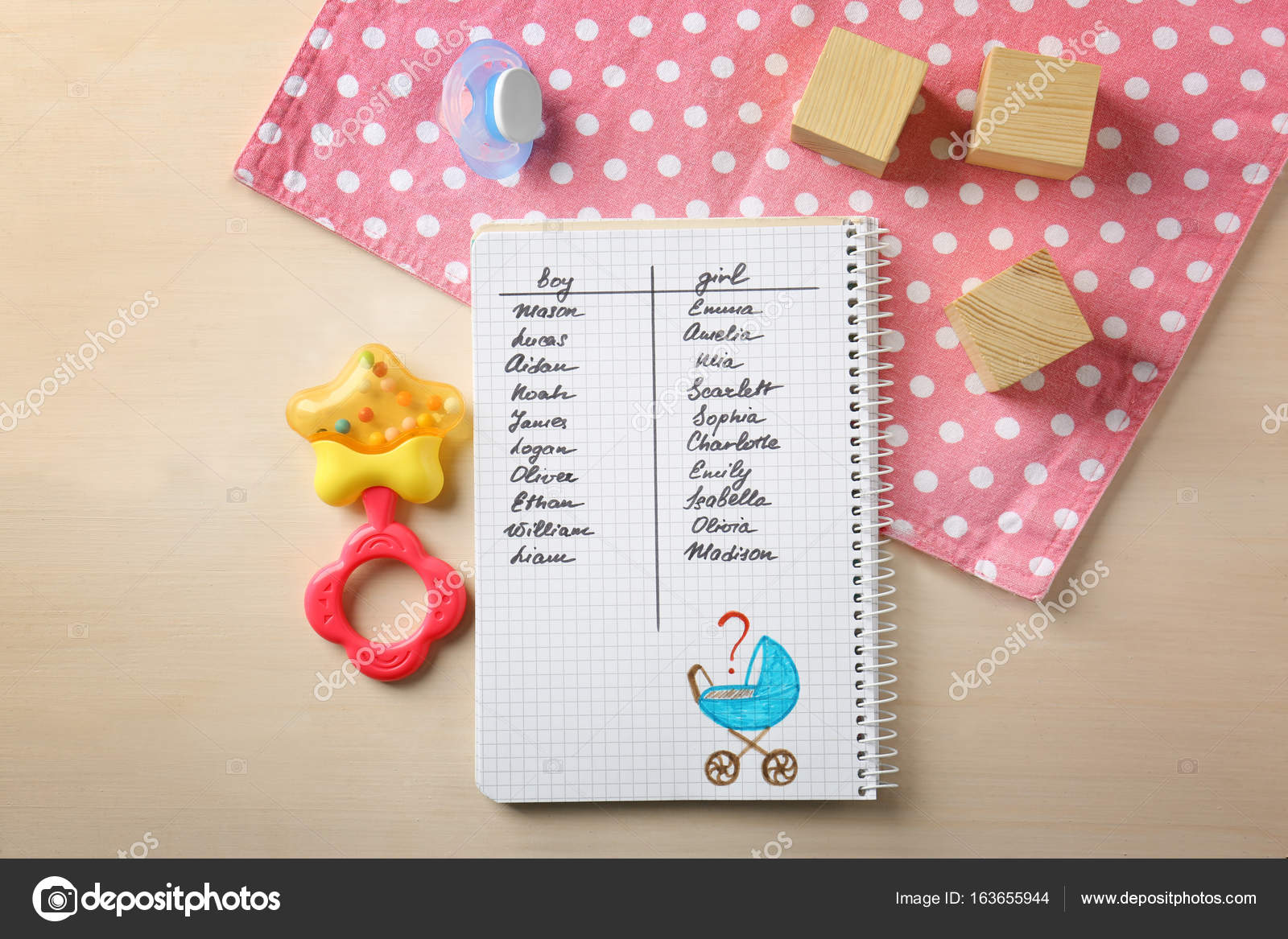 47e37609e007 Composition with list of baby names in notebook on wooden background —  Photo by ...