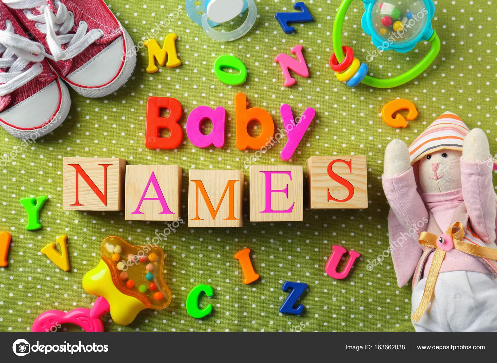 Renk Arka Plan üzerinde Metin Bebek Isimleri Ile Kompozisyon Stok