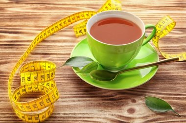 Cup of tea and measuring tape