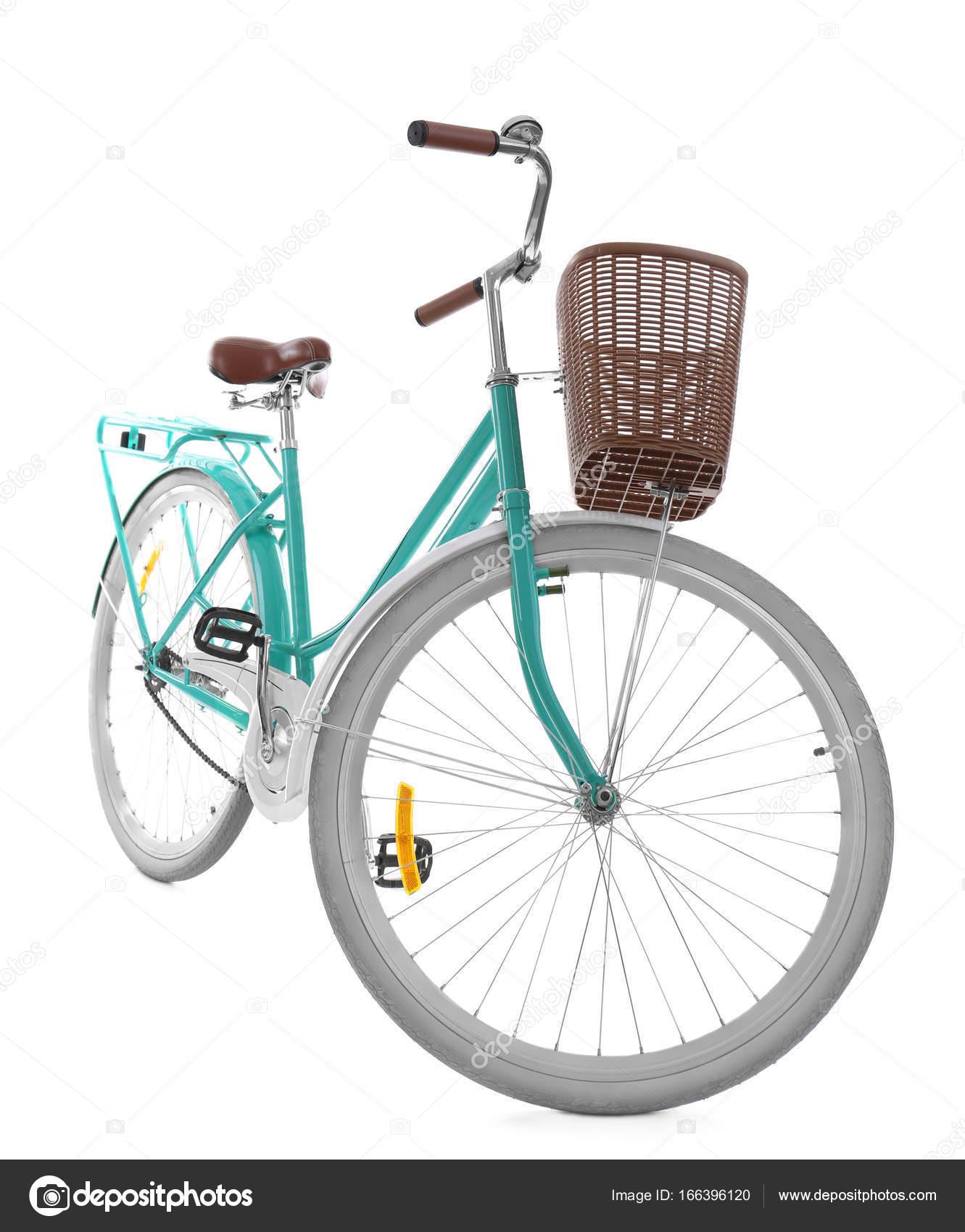 Stilvolle Fahrrad mit Korb — Stockfoto © belchonock #166396120