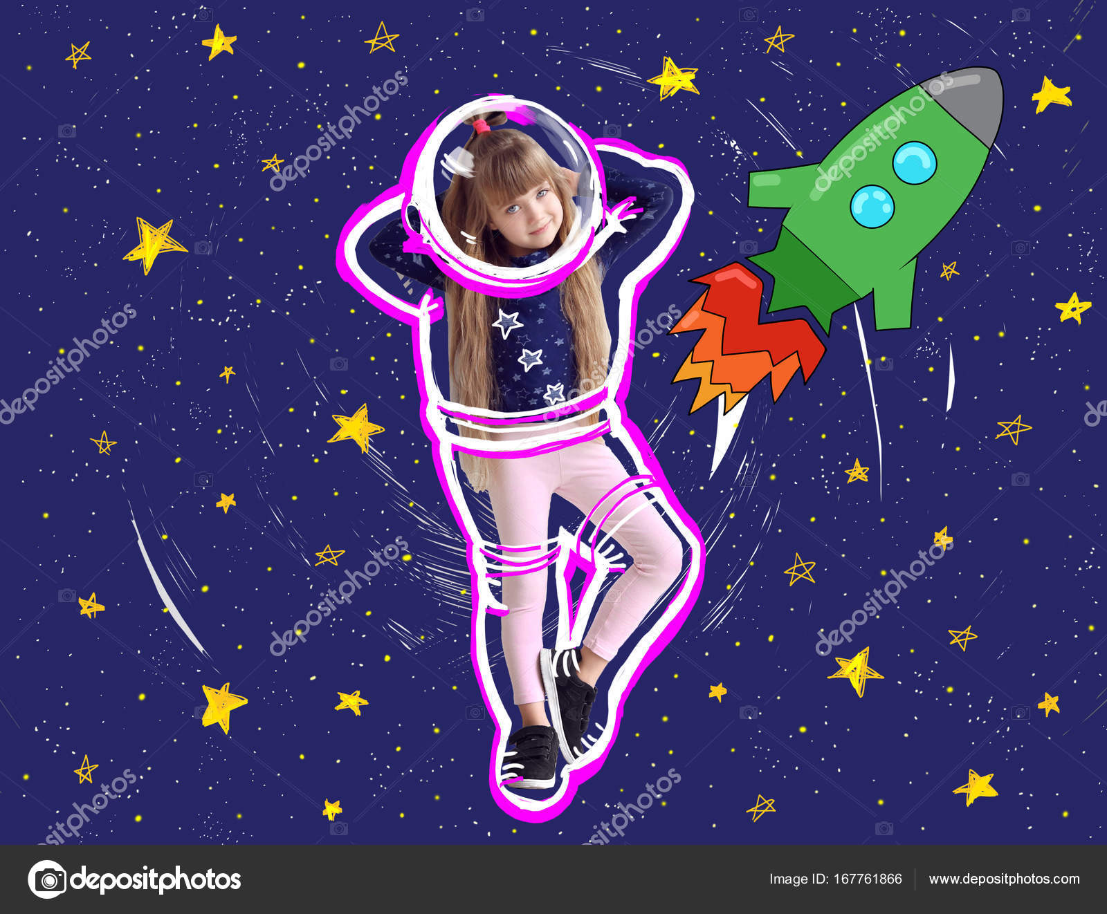 Cute Little Girl Drawing Space Background Stock Photo C Belchonock
