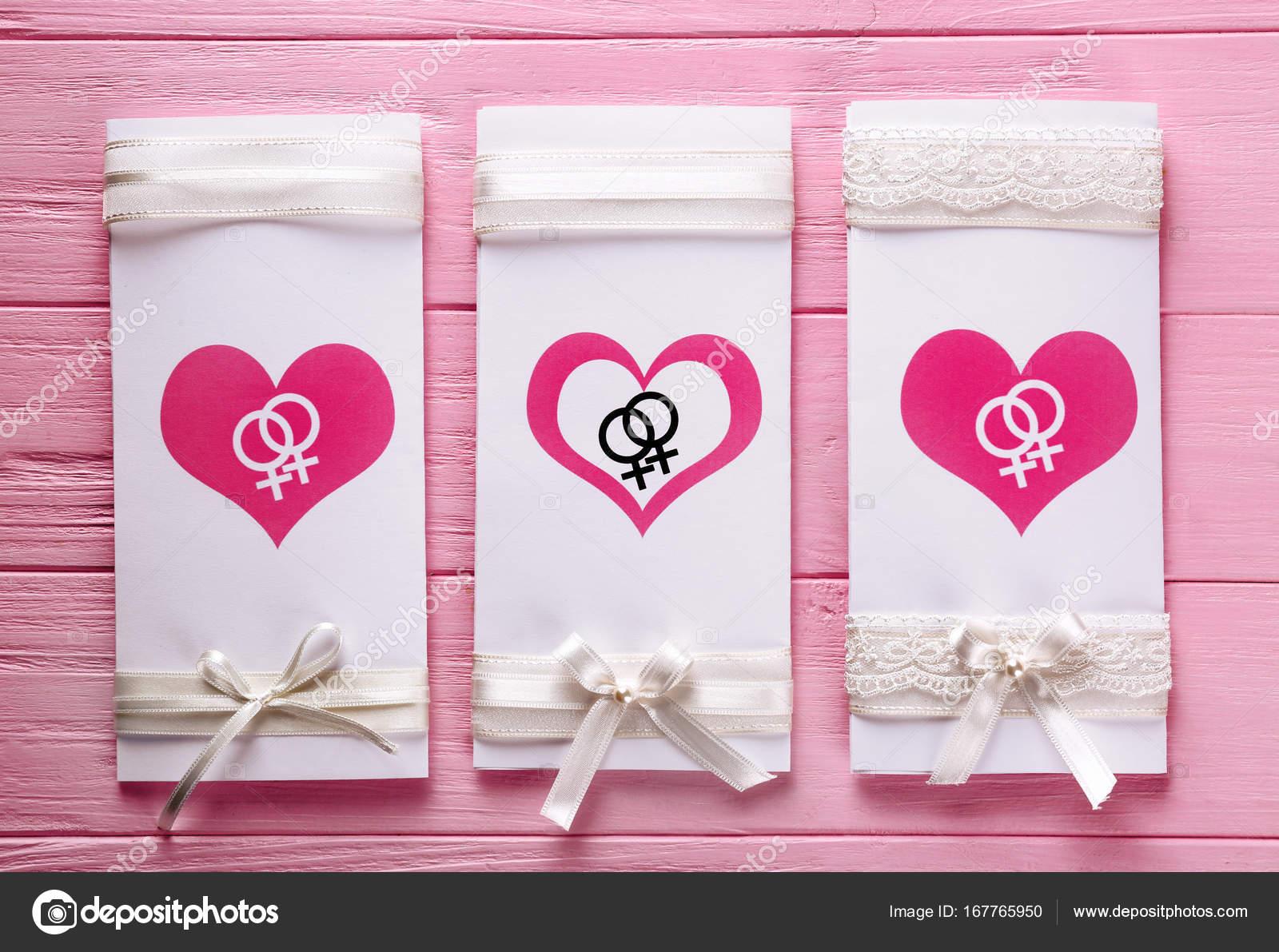 invitación de la boda lesbiana — Foto de stock © belchonock #167765950