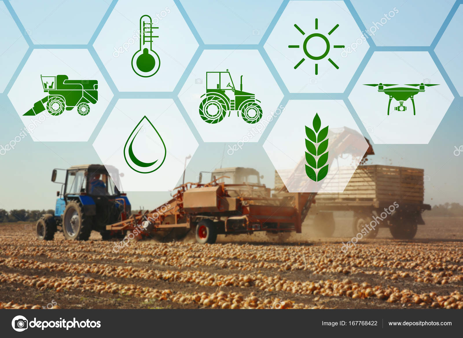 Icons And Process Of Harvesting With Modern Agricultural Equipment On Background Concept Smart Agriculture Technology Photo By Belchonock