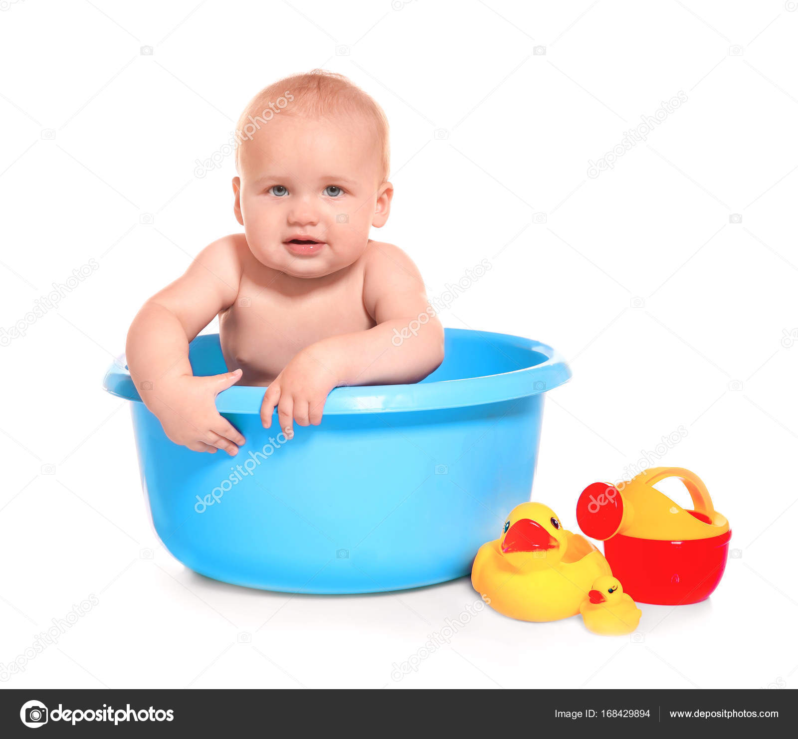 Cute baby washing in bath basin on white background — Stock Photo ...