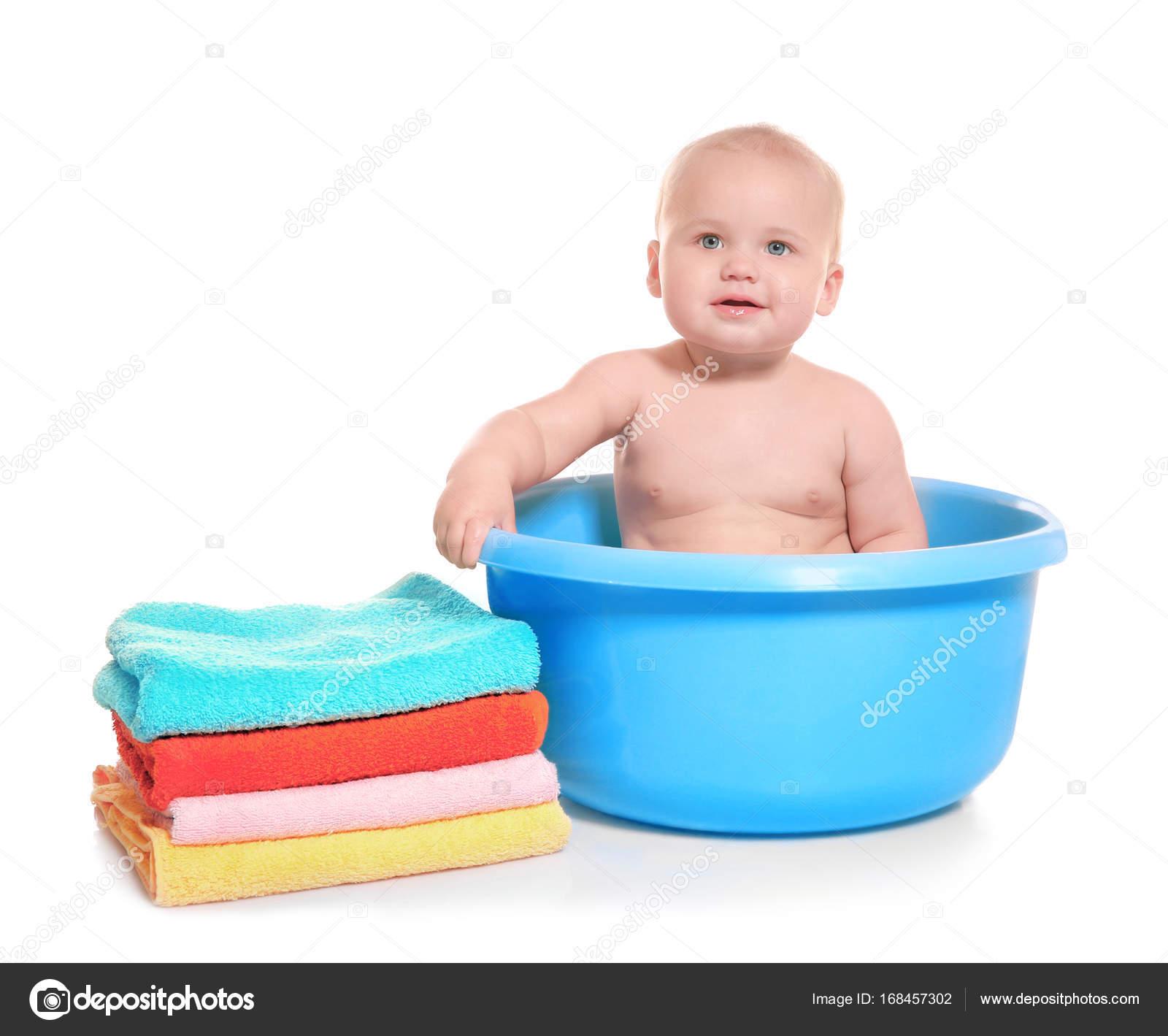 Cute baby washing in bath basin on white background — Stock Photo ...