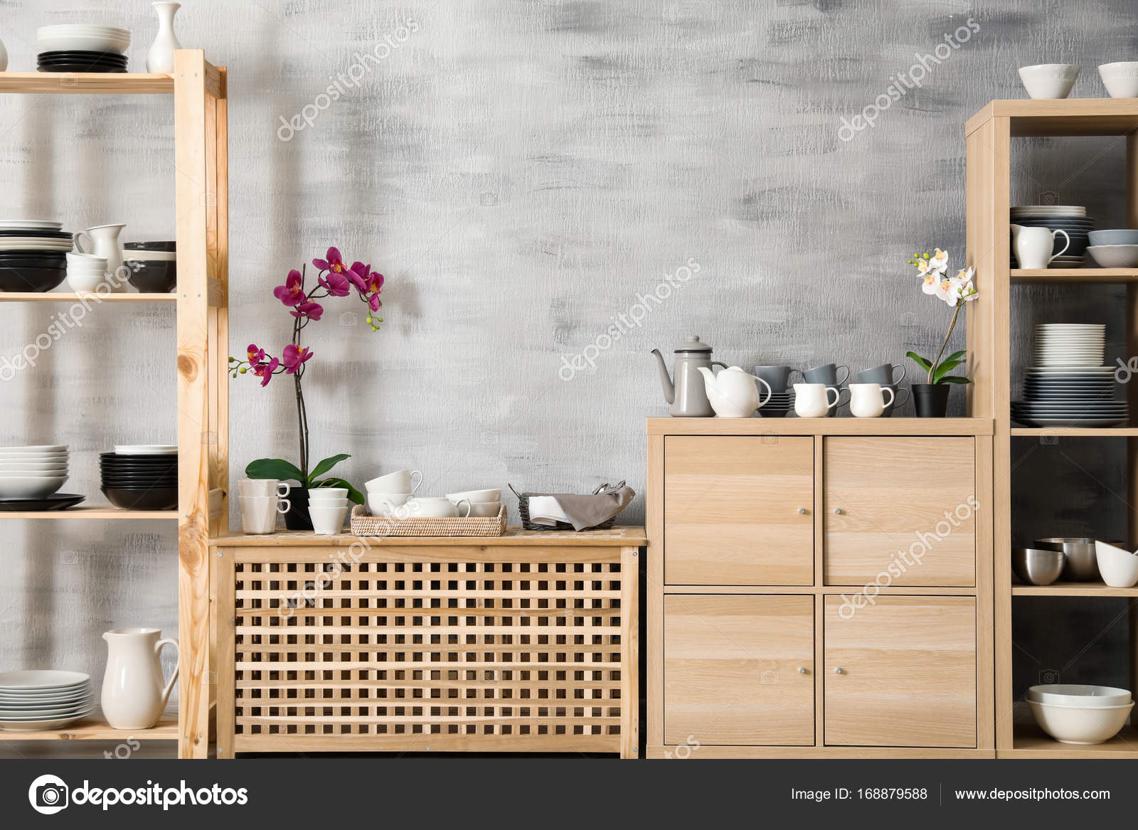 Interior Da Cozinha Moderna Com Suporte De Armazenamento De Madeira