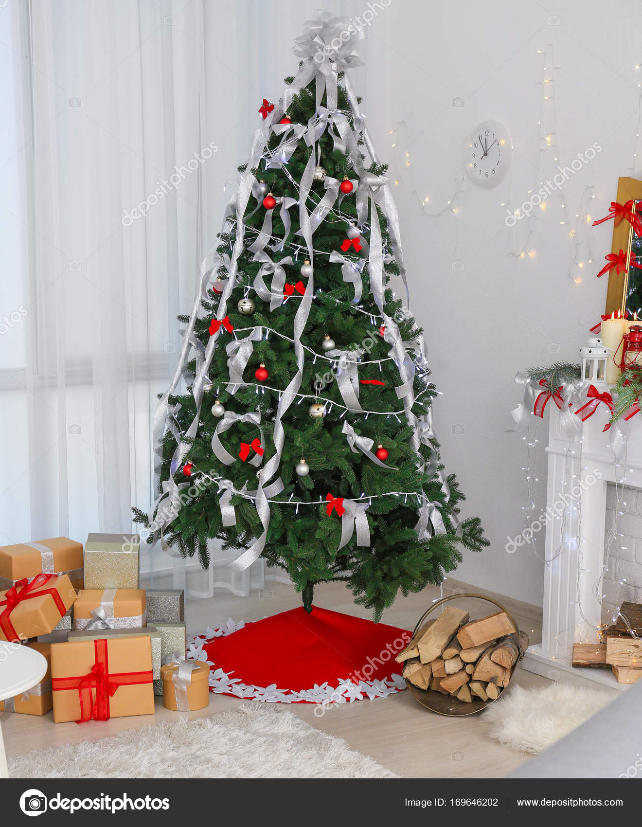 At Home Christmas Trees.Beautiful Christmas Tree With Skirt And Gifts At Home