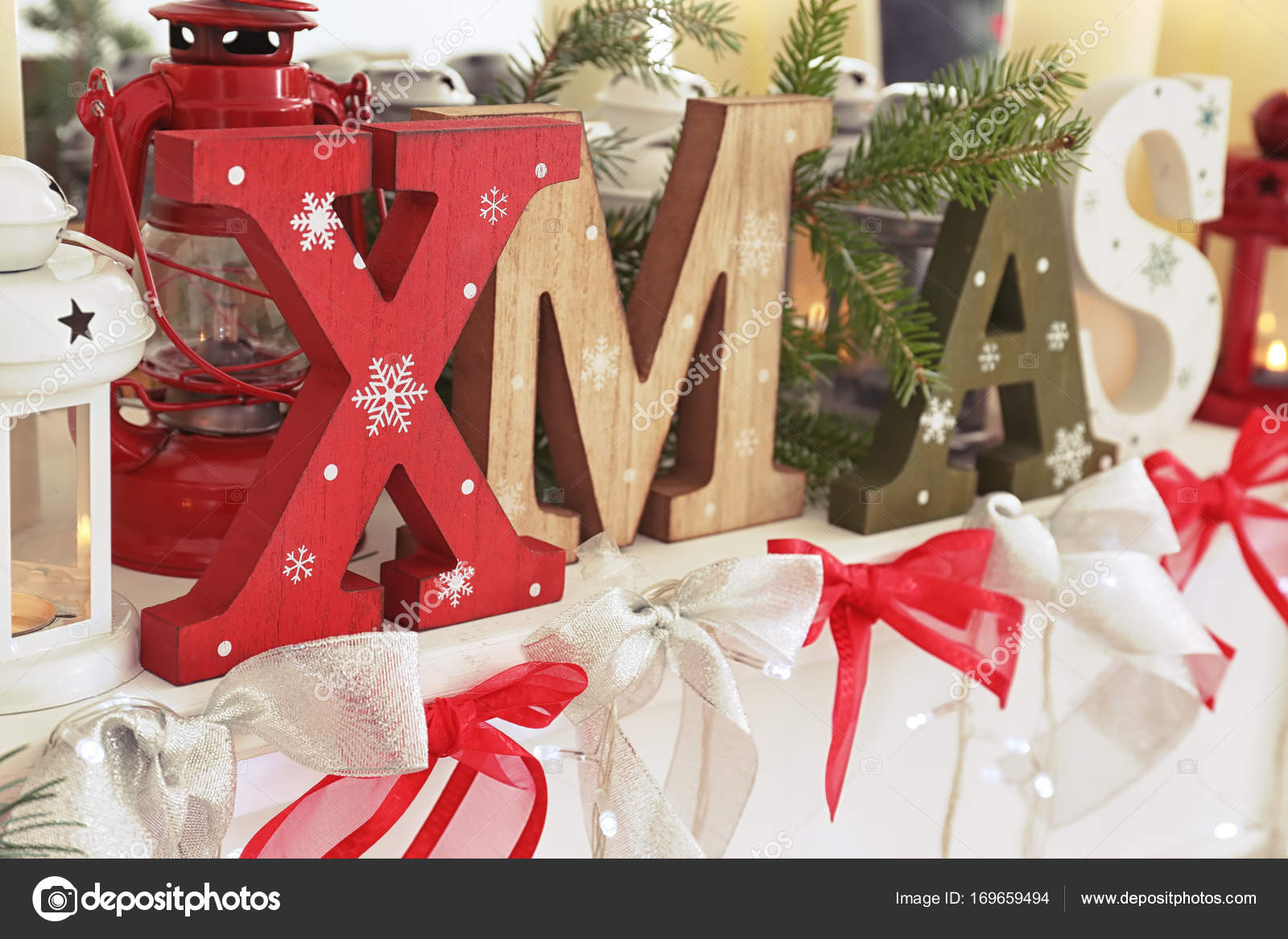 Wooden Letters Xmas And Christmas Decorations At Home Stock Photo