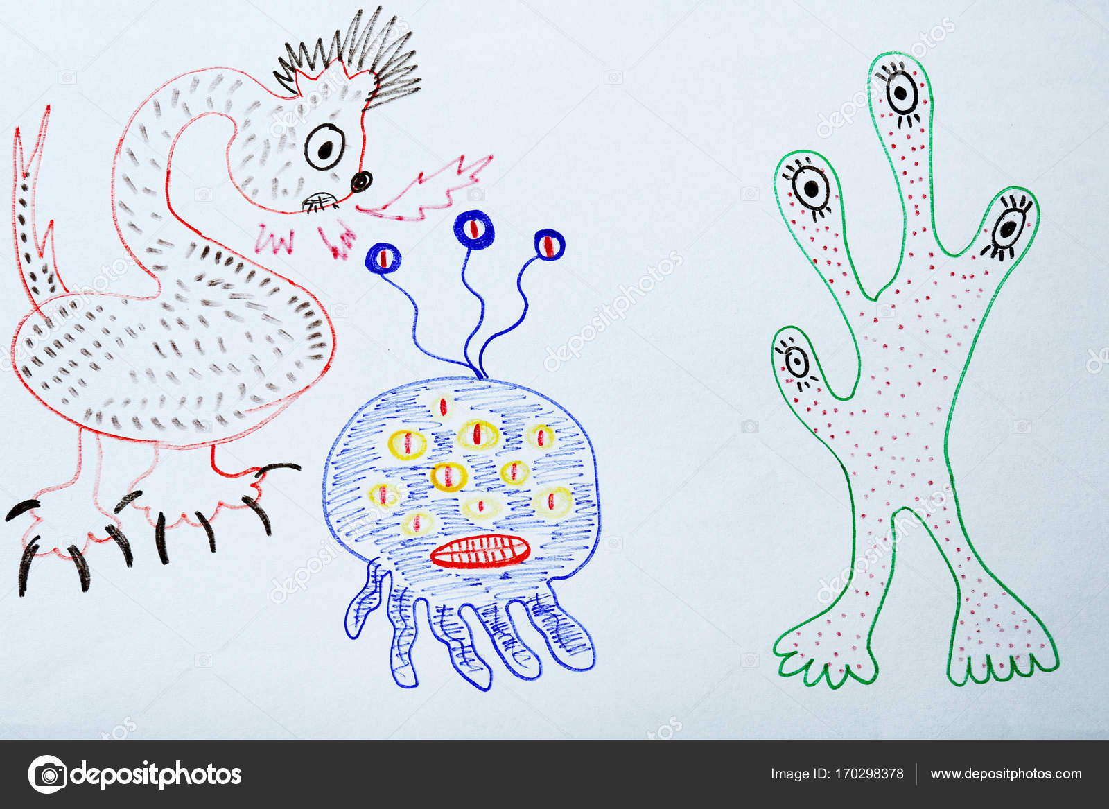 Drawings Scary Monsters Child S Drawing Of Scary Monsters Stock Photo C Belchonock 170298378