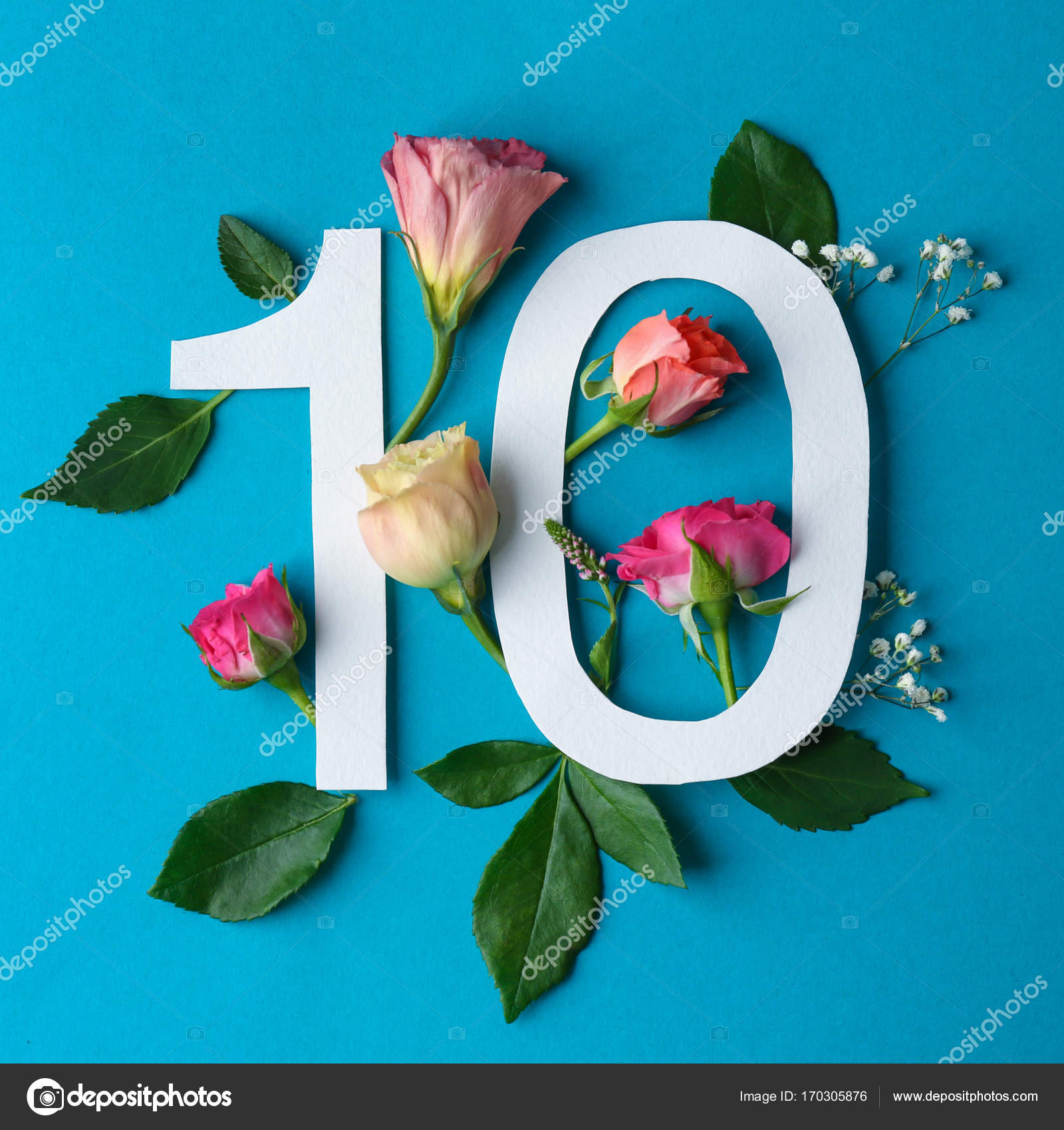 Number 10 And Beautiful Flowers Stock Photo Belchonock 170305876