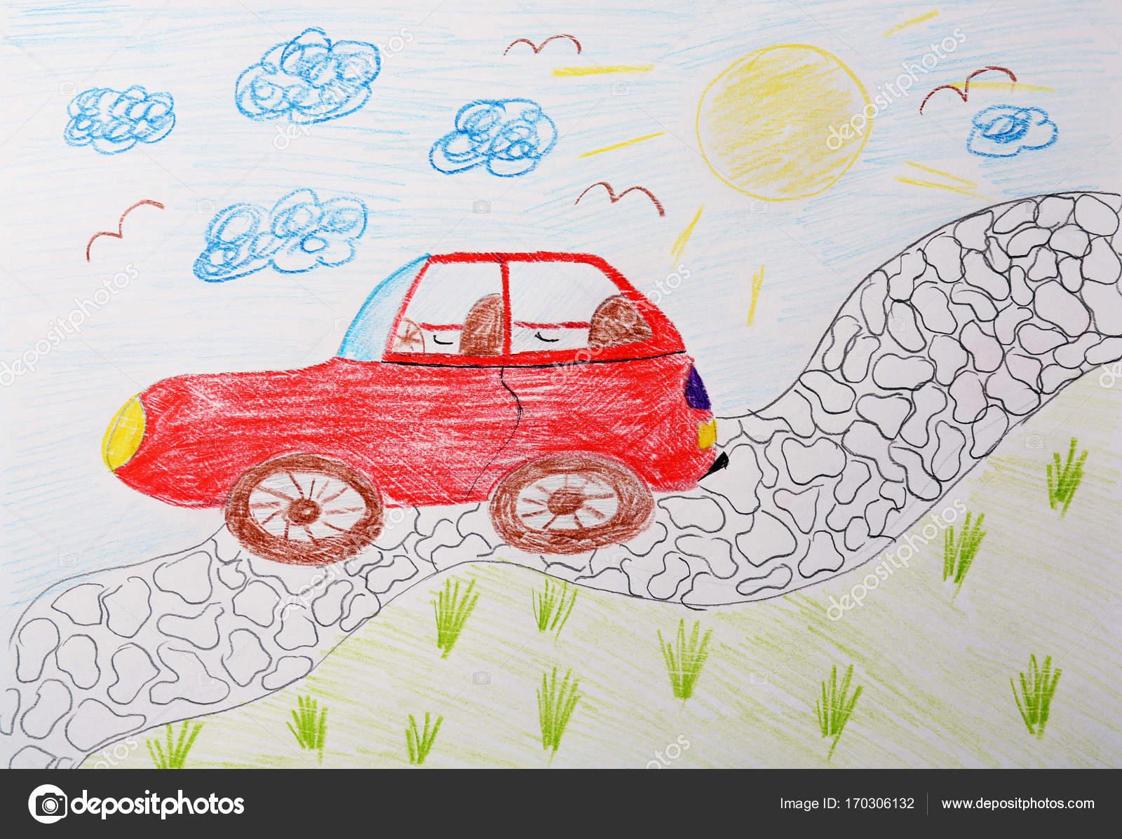 Detska Kresba Cervene Auto Stock Fotografie C Belchonock 170306132