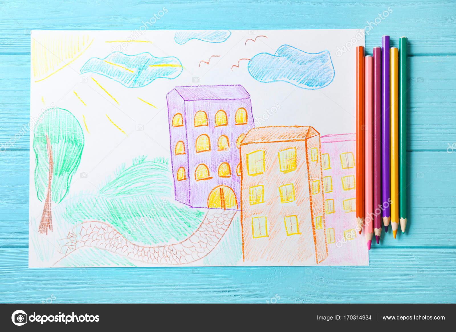Detska Kresba Budov V Meste Na Modrem Pozadi Stock Fotografie