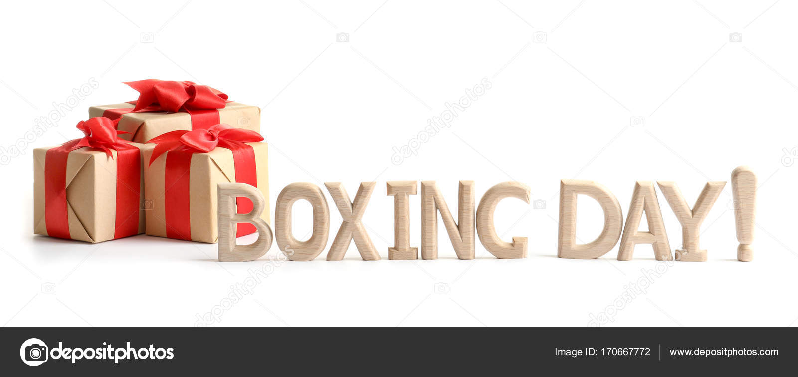 cute gift boxes with words boxing day isolated on white stock