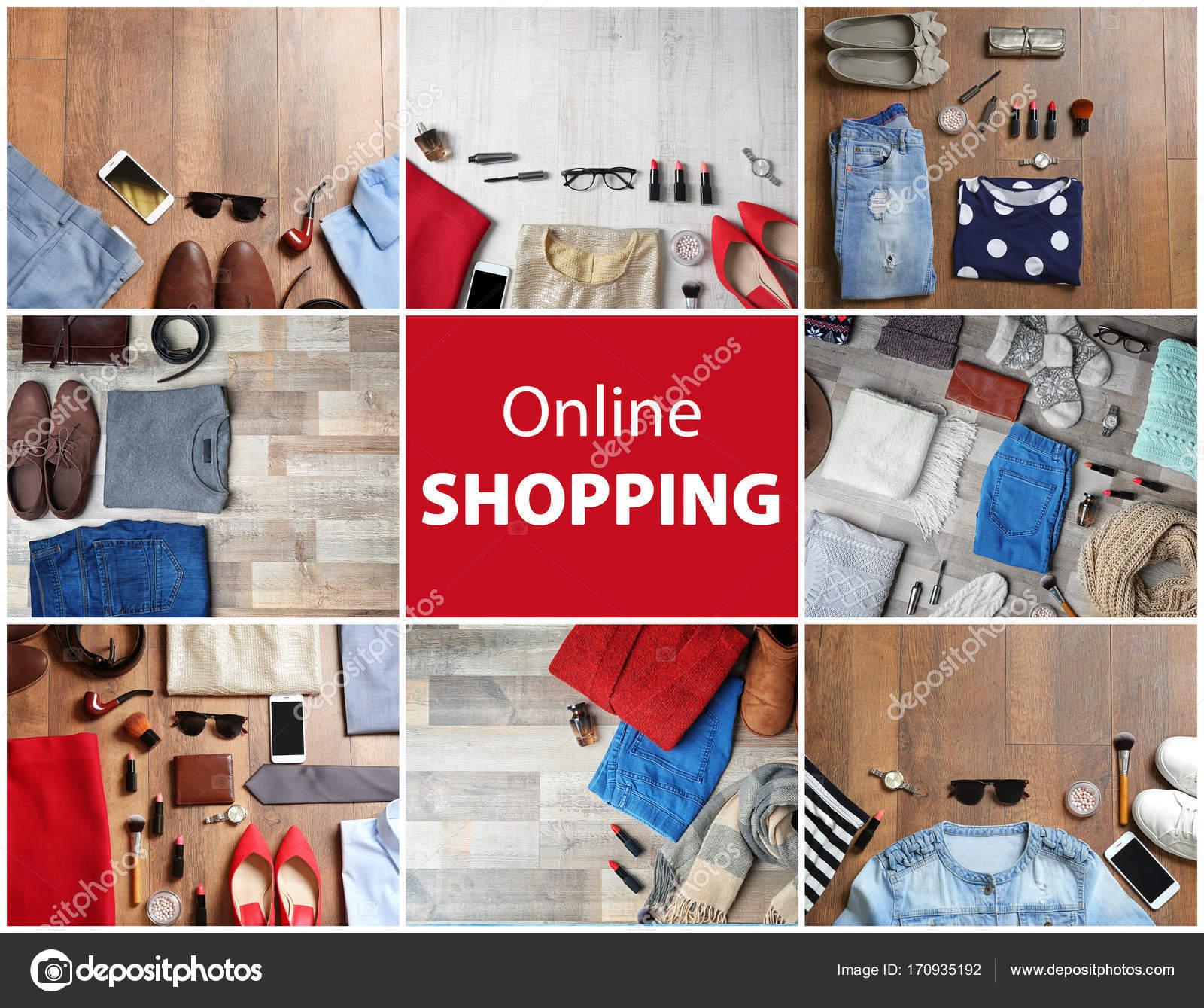 official photos dacd0 fab52 Collage mit stilvolle Kleidung für Online-shopping-Konzept ...