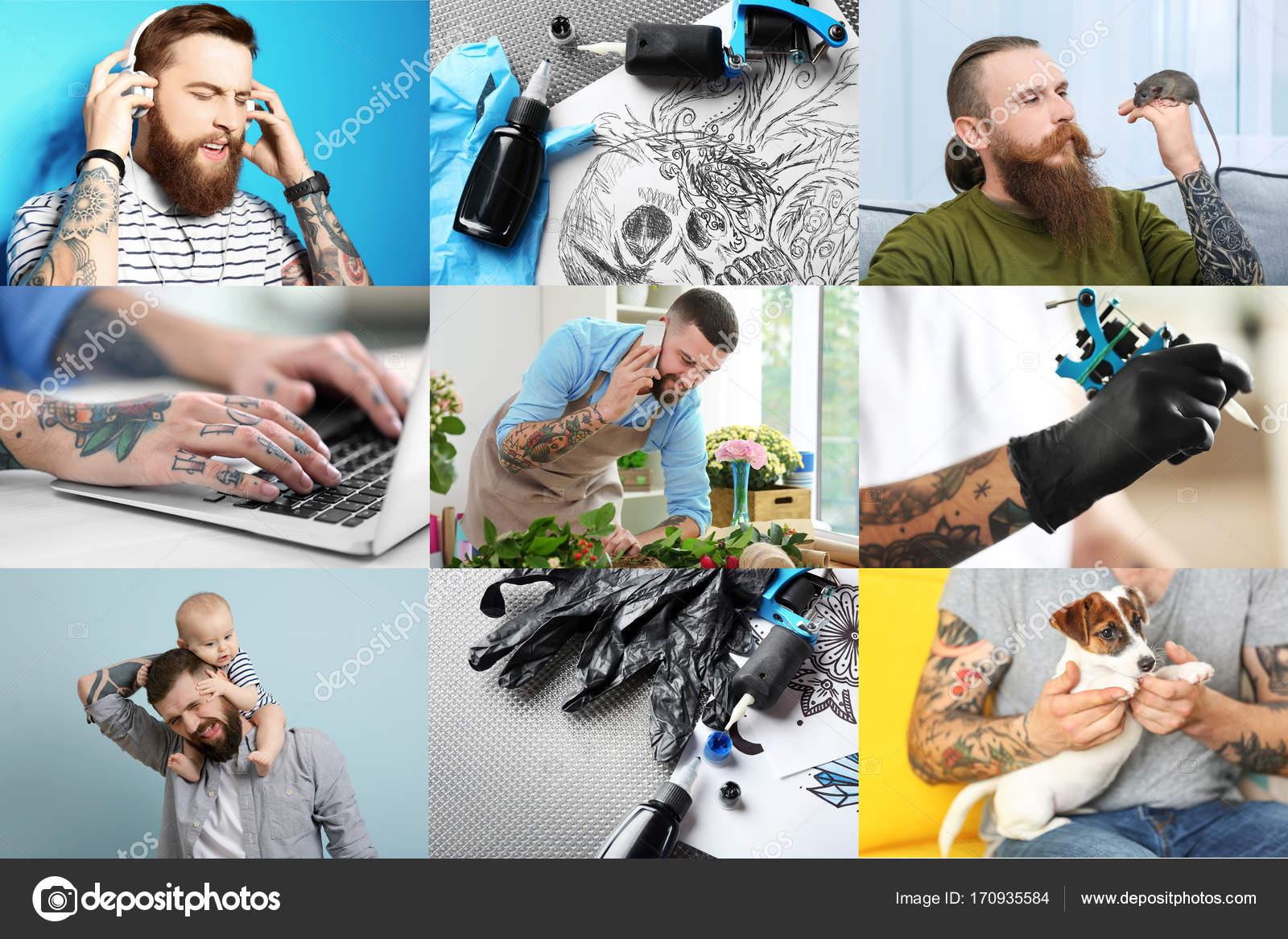 Hombres Tatuados Con Estilo Collage Con Hombres Tatuados Con