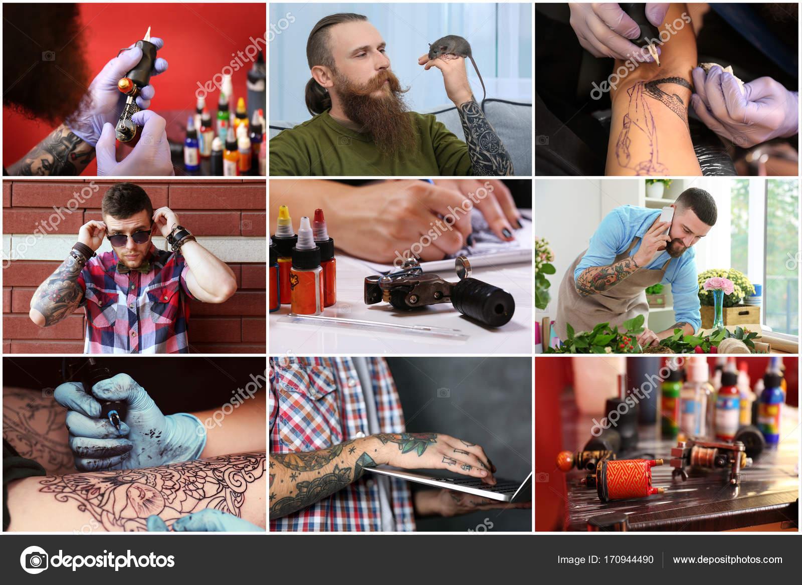 Collage Con Hombres Tatuados Con Estilo Foto De Stock Belchonock
