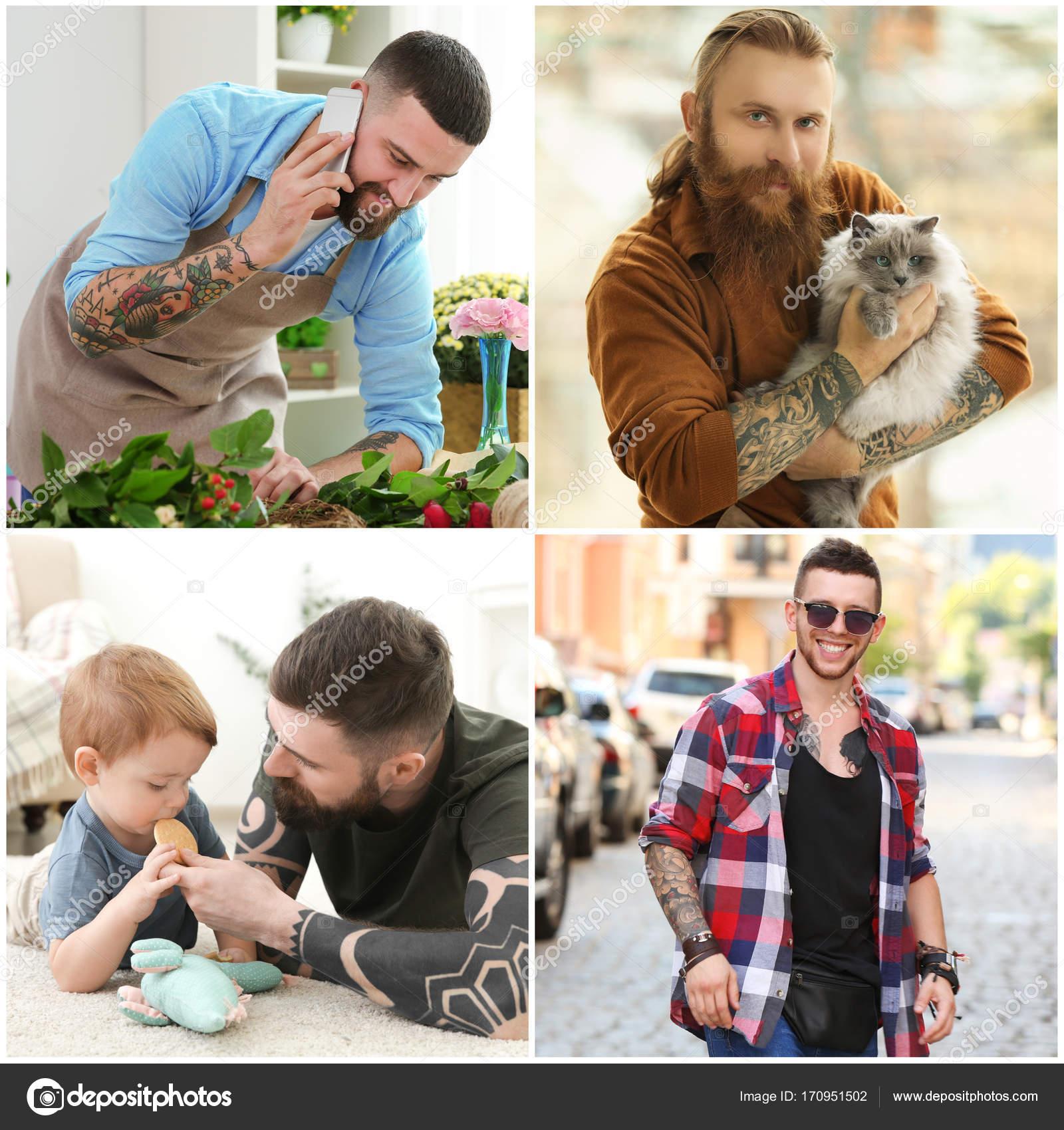 Collage Con Hombres Tatuados Con Estilo Fotos De Stock