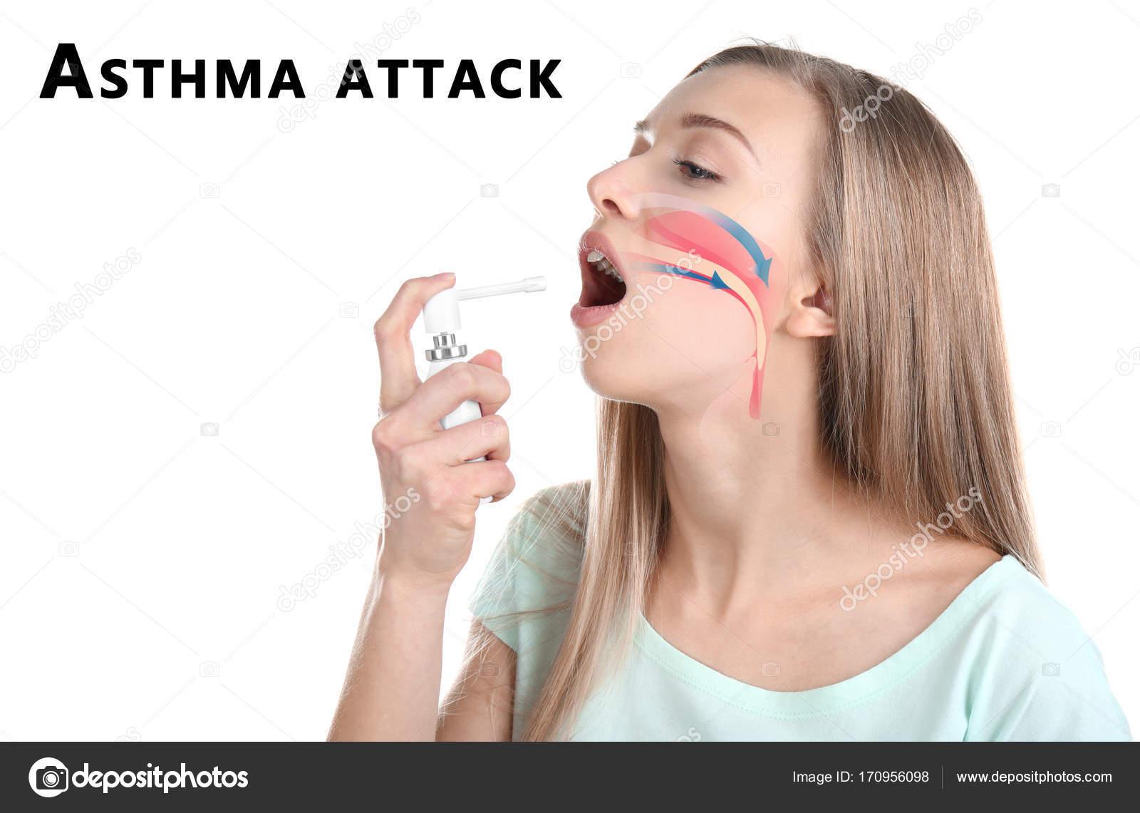 Mujer joven con ilustración de garganta uso inhalador durante el ...