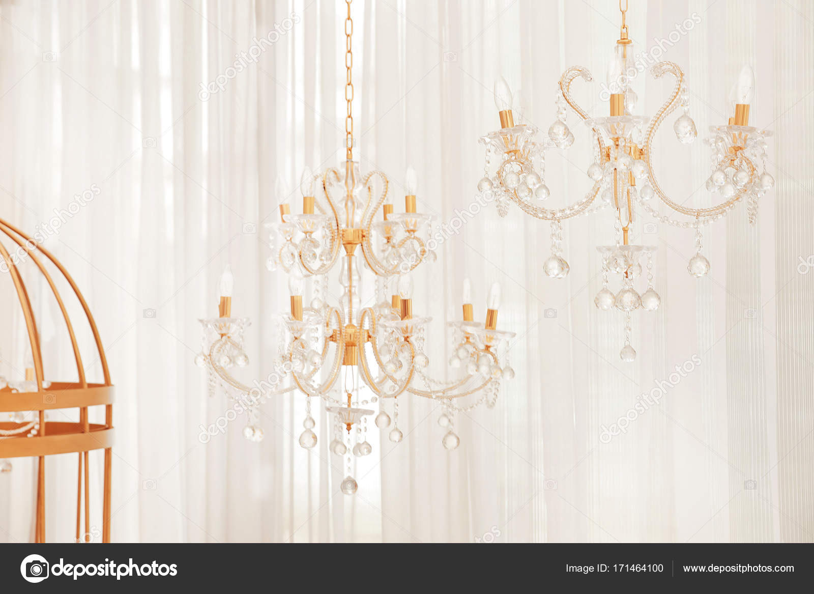 Miniature chandeliers in wedding hall stock photo belchonock miniature chandeliers in wedding hall stock photo arubaitofo Image collections
